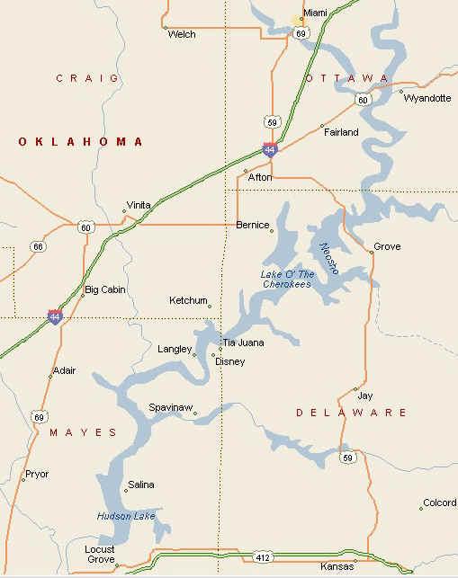 LAKE O THE CHEROKEES MAP - Oklahoma lake map