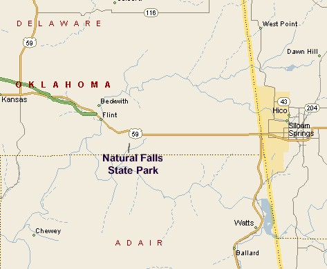 NATURAL FALLS STATE PARK MAP - Map of the state of oklahoma