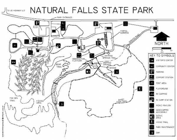 Attirant NATURAL FALLS STATE PARK MAP