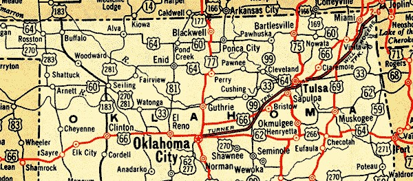 ROUTE IN OKLAHOMA MAP - Map of oklahoma with cities