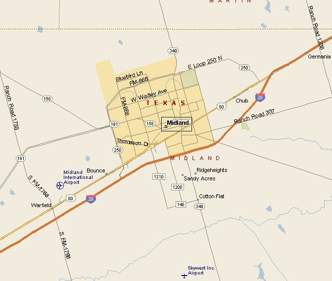 BIG BEND COUNTRY MIDLAND TEXAS MAP