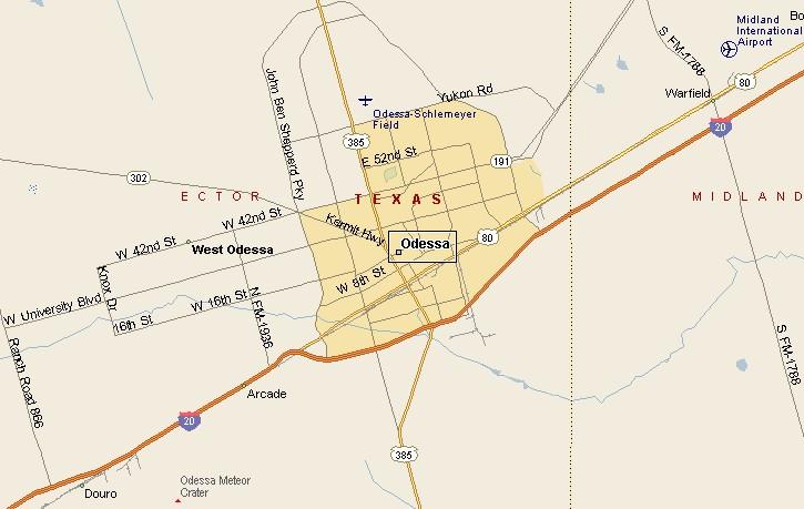 Odessa Texas Map BIG BEND COUNTRY: ODESSA TEXAS MAP Odessa Texas Map