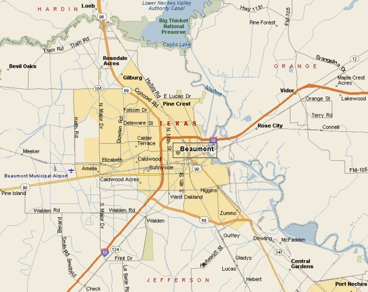 Map Of Beaumont Tx PINEY WOODS REGION: BEAUMONT TEXAS AREA MAP Map Of Beaumont Tx