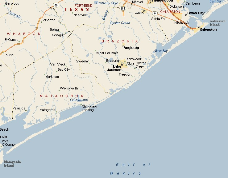 Gulf Coast Region Brazosport Texas Area Map