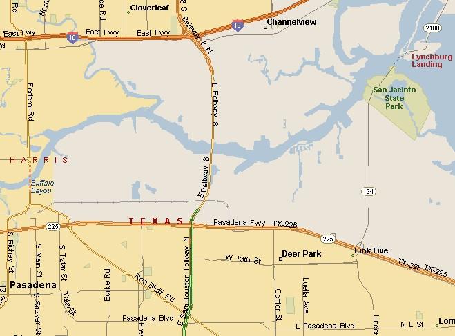 GULF COAST REGION: DEER PARK TEXAS AREA MAP on