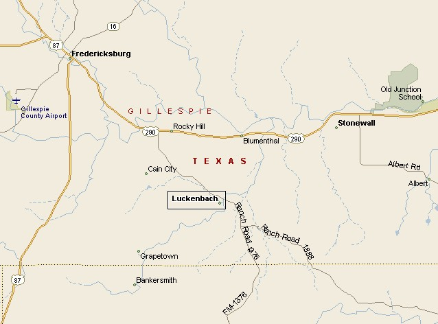 Hill Country Region Luckenbach Texas Map