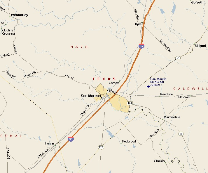 HILL COUNTRY REGION: SAN MARCOS TEXAS MAP on map austin houston, map austin texas, map austin round rock,
