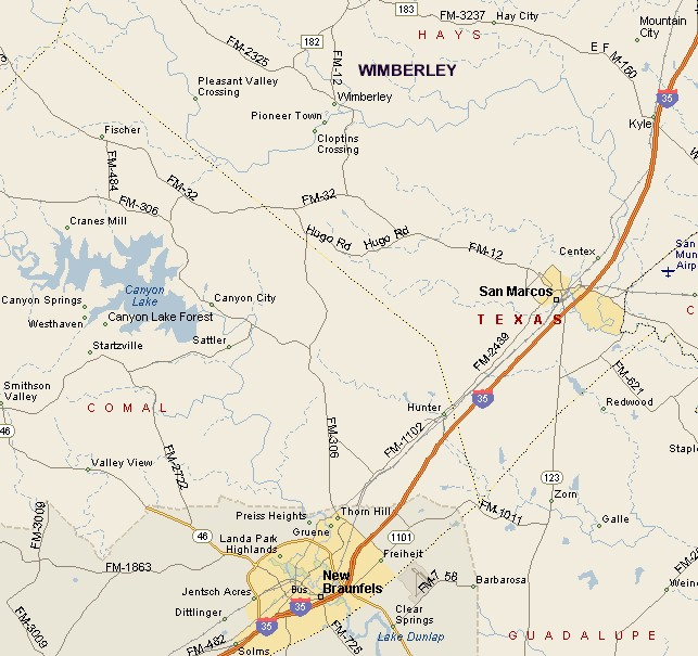 Wimberley Texas Map HILL COUNTRY REGION: MAP OF WIMBERLEY AREA