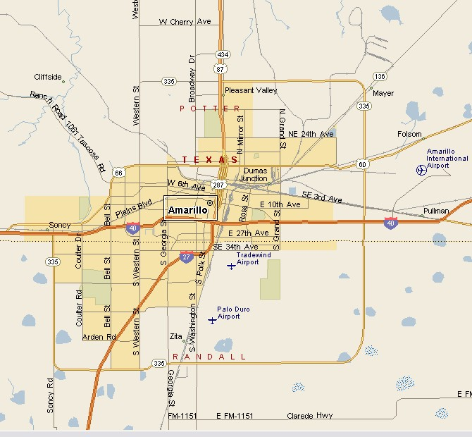 PANHANDLE PLAINS REGION: AMARILLO TEXAS MAP