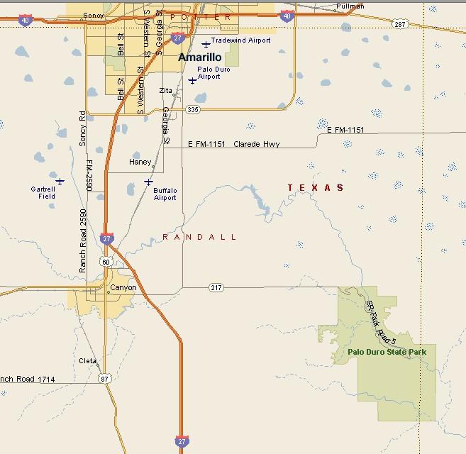 PANHANDLE PLAINS REGION: PALO DURO CANYON MAP