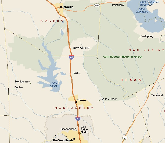PINEY WOODS REGION CONROE TEXAS AREA MAP