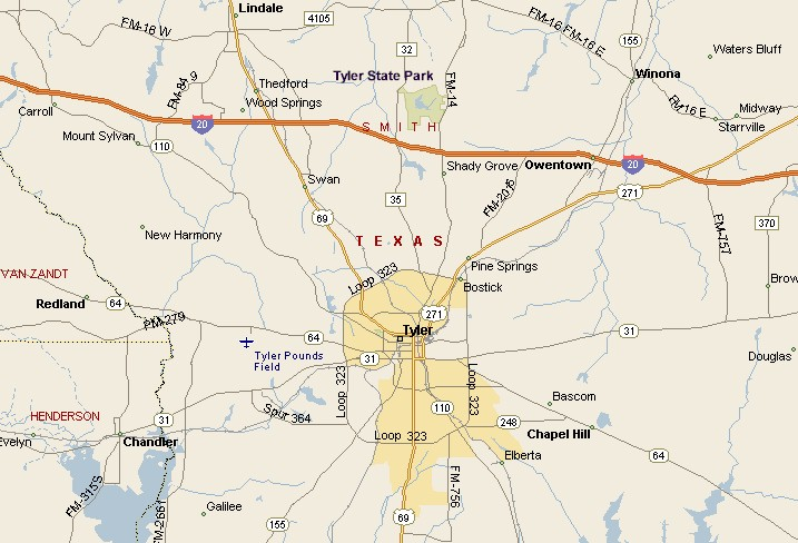 Piney Woods Region Tyler Texas Area Map