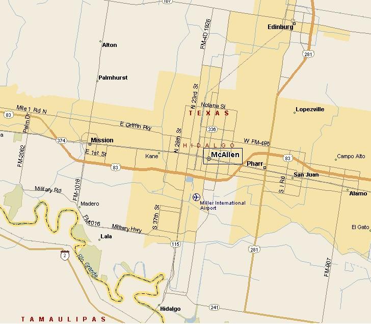 South Texas Plains Region Mcallen Texas Map