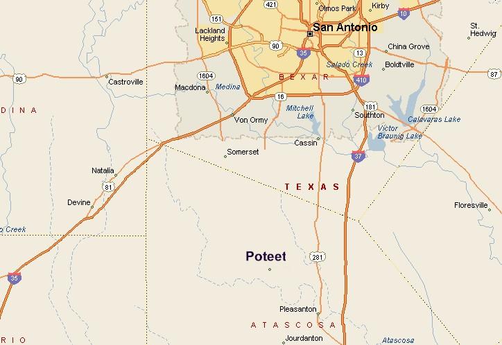 SOUTH TEXAS PLAINS REGION POTEET TEXAS MAP - Where is texas