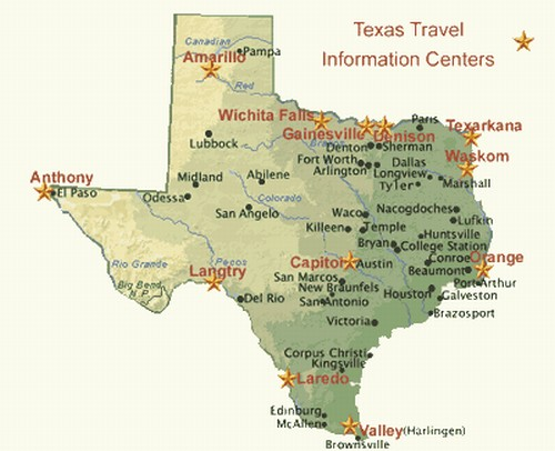 TEXAS TRAVEL INFORMATION CENTERS – Texas Travel Map