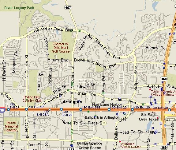 Arlington Map Six Flags Over Texas Hurricane Harbor The Ballpark