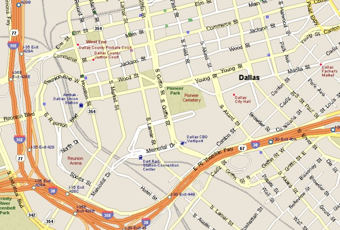Downtown Dallas Map Downtown Dallas Attractions Map