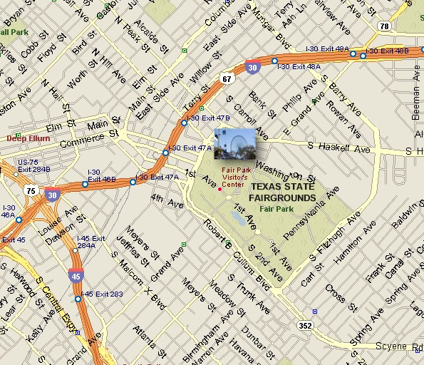State Fair Of Texas Dallas Fair Park Location Map