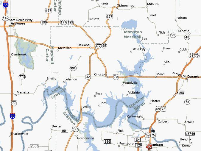 Texoma Map - Texas towns map