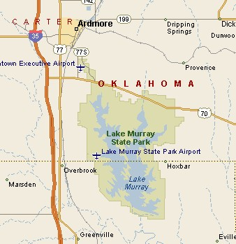 LAKE MURRAY STATE PARK MAP - Oklahoma map of lakes